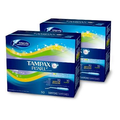Tampax Pearl Triple Pack Regular Tampons - 2 Pack (50 Count each)