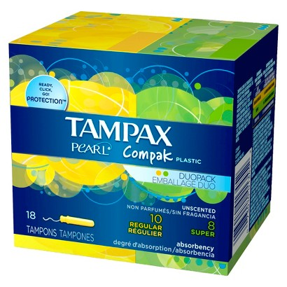 Tampax Pearl Compak Super and Regular Tampons - 3 Pack (18 Count each)