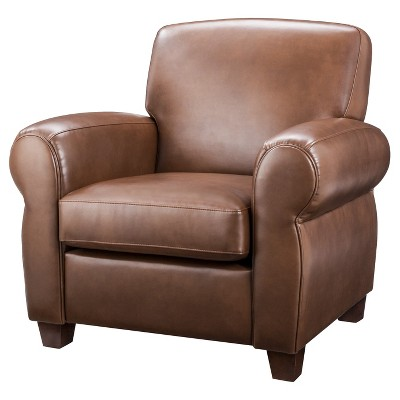 Cigar Arm Club Chair - Camel Bonded Leather