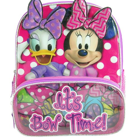 """Minnie & Daisy Backpack with Detachable Velcro Bows (12"""")"""