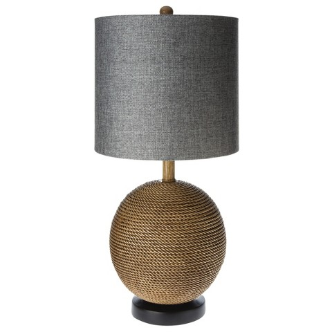 Mudhut™ Rope Textured Sphere Table Lamp with Gray Linen Shade