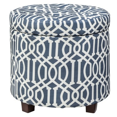 Threshold™ Round Tufted Storage Ottoman -  Blue/White Trellis