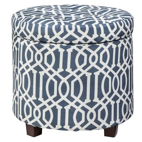 Threshold™ Round Tufted Storage Ottoman -  Blue/White Trellis