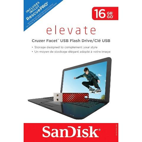 SanDisk Facet 16GB USB Flash Drive - Red (SDCZ55-016G-T46R)