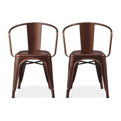 Carlisle Metal Dining Chair - Copper Brown (Set of 2)