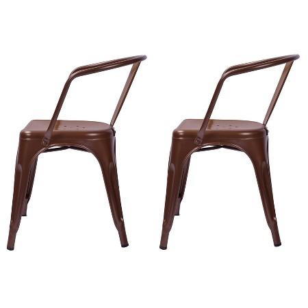 Carlisle Metal Dining Chair Set of 2 Tar