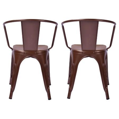 Carlisle Metal Dining Chair Natural Metal Set of 2