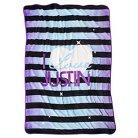 Justin Bieber I Love Justin Blanket - Purple/Black Stripe