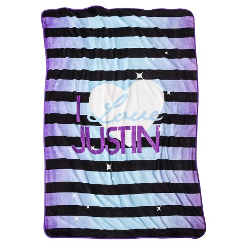 Justin Bieber I Love Justin Blanket - Purple/Black Stripe