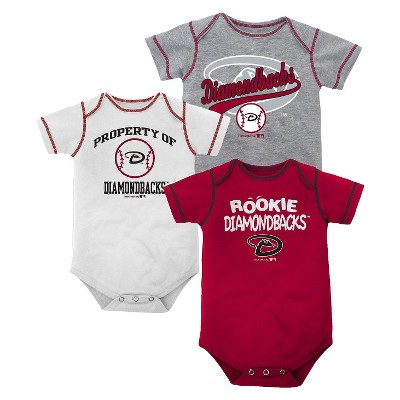ECOM Arizona Diamondbacks Boys Bodysuit Rio Red+Heather 3 Pack