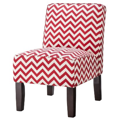 Burke Armless Slipper Chair - Red Chevron