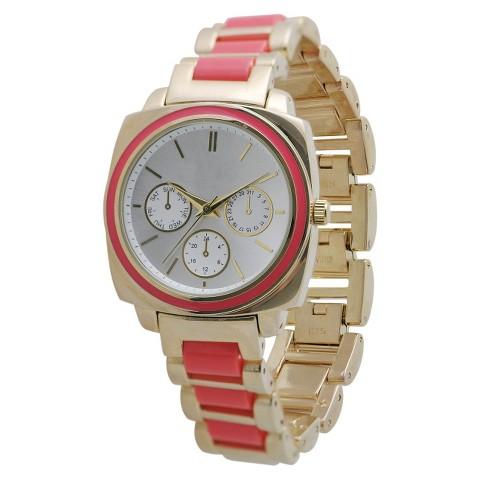 Women's Merona® Metal Bracelet with Boyfriend Style Silver Dial Watch - Coral/Gold