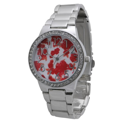 Women's Xhilaration® Metal Bracelet with Floral Dial and Stones Watch - Silver