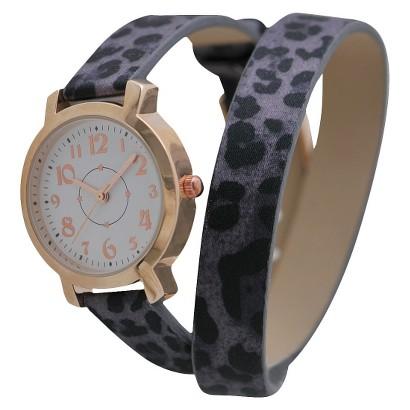 Women's Xhilaration® Leopard Strap with White Dial Watch - Purple