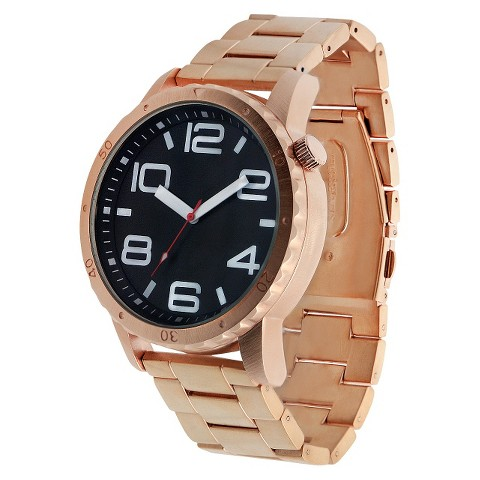 Men's Mossimo Black® Metal Bracelet with Black Dial Watch - Rose Gold