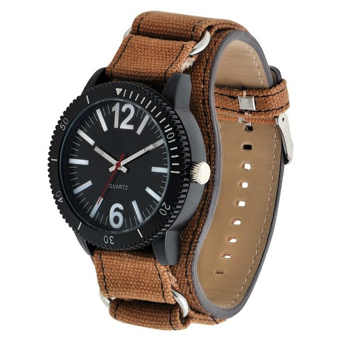 Men's Mossimo Black® Canvas Strap with Black Dial Watch - Brown
