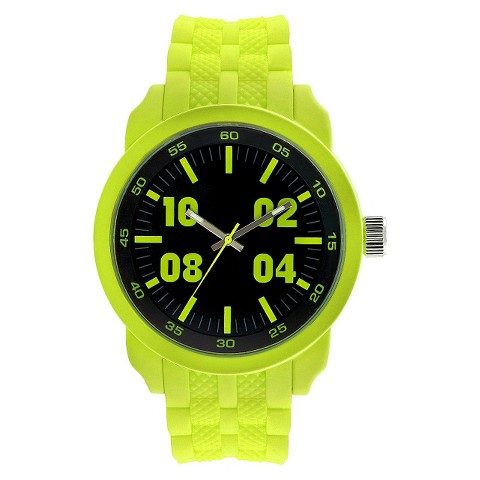 Men's Mossimo Black® Rubber Strap with Black Dial Watch - Neon Green