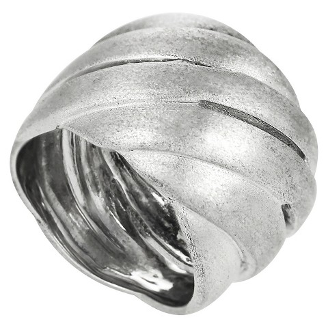 Sterling Silver Wide Brushed Ring - Silver