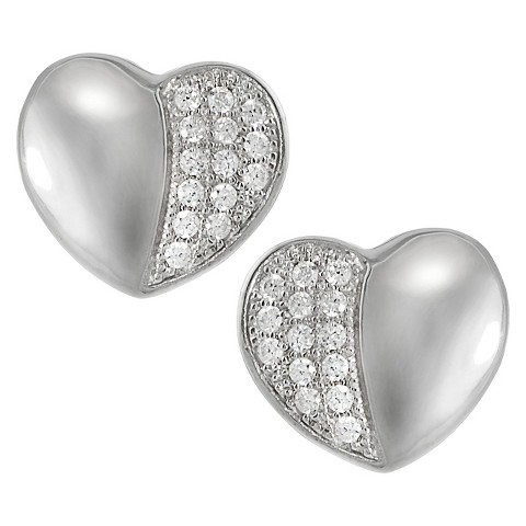 Tressa Sterling Silver Cubic Zirconia Heart Earrings - Silver