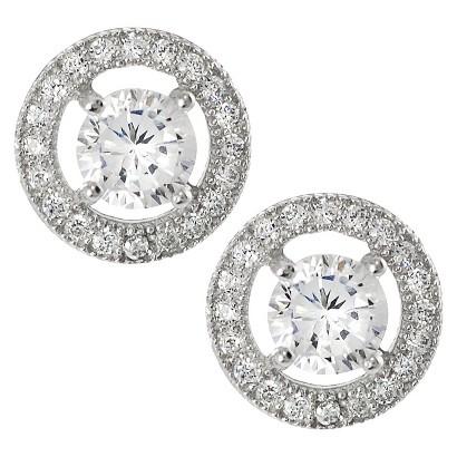 Tressa Sterling Silver Cubic Zirconia Round Stud Earrings - Silver