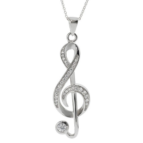 Tressa Sterling Silver Cubic Zirconia Musical Note Pendant - Silver