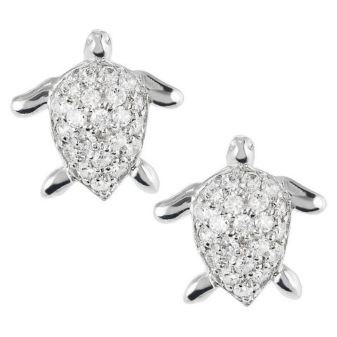 Tressa Sterling Silver Cubic Zirconia Turtle Stud Earrings - Silver