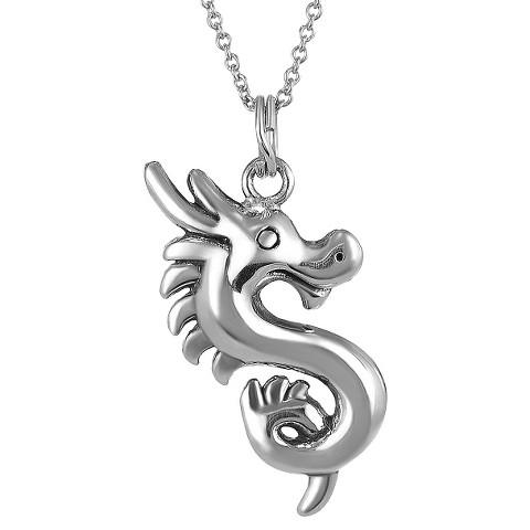 Tressa Sterling Silver Dragon Pendant - Silver