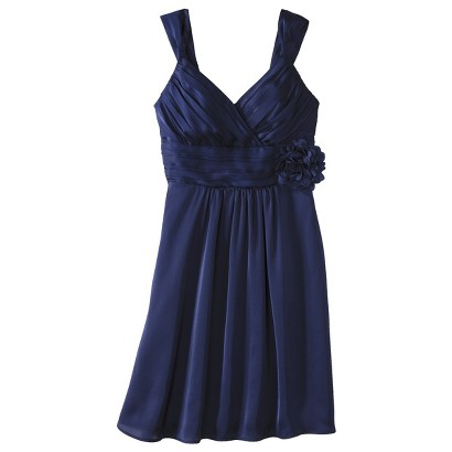 Women's Satin V-Neck Bridesmaid Dress with Removable Flower Fashion Colors - TEVOLIO&#153