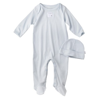 Burt's Bees Baby Newborn Organic Lap Shoulder Coverall and Hat Set - Sky 0-3M