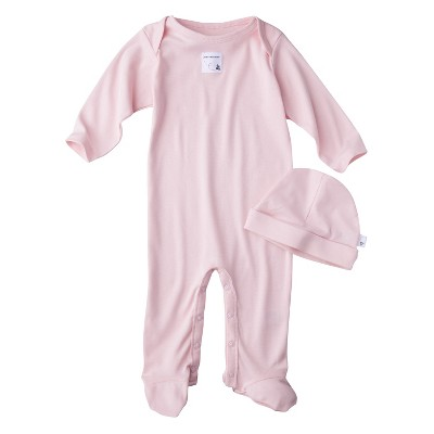Burt's Bees Baby Newborn Organic Lap Shoulder Coverall and Hat Set - Bloosom 0-3M