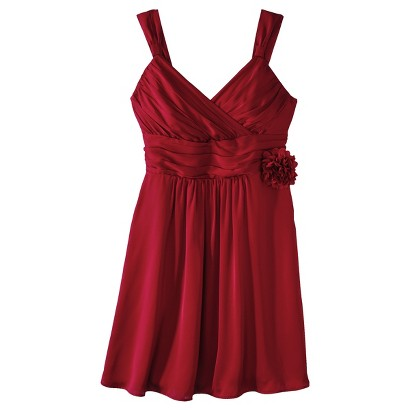 TEVOLIO™  Women's Satin V-Neck Bridesmaid Dress with Removable Flower  Limited Availability Colors