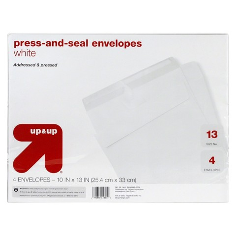 up & up™ Peel & Seal Envelopes White 4-ct. up 10in x 13in