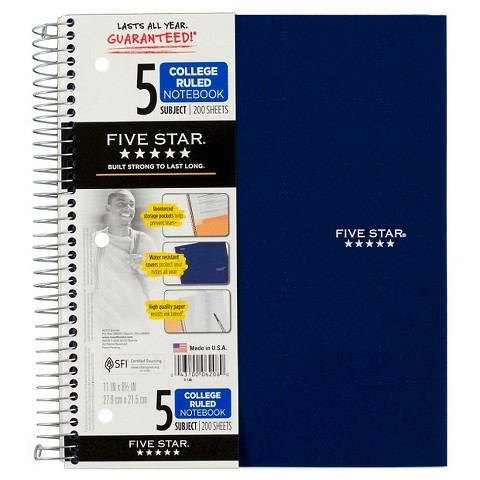 FiveStar 200ct 5-Subject College Ruled Notebook Assorted Colors