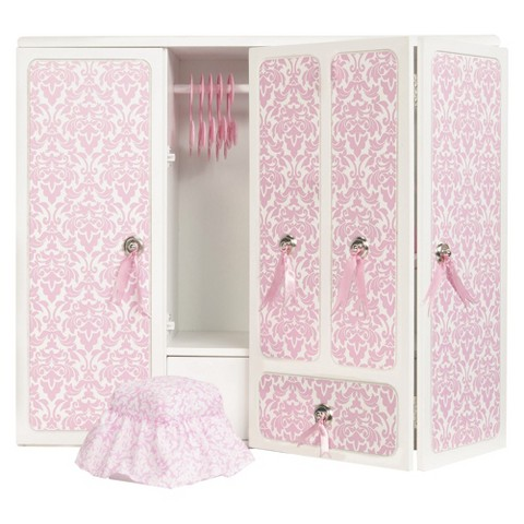 Our Generation Wooden Wardrobe with Ribbons