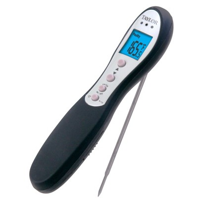 TAYLOR PLASTIC FOLDING PROBE THERMOMETER - BLACK