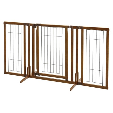 Richell Premium Plus Freestanding Pet Gate with Door - Brown