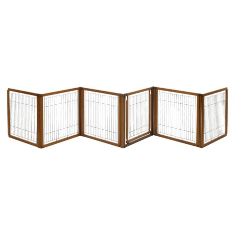 Richell Convertible Elite Pet Gate 6 Panel - Brown