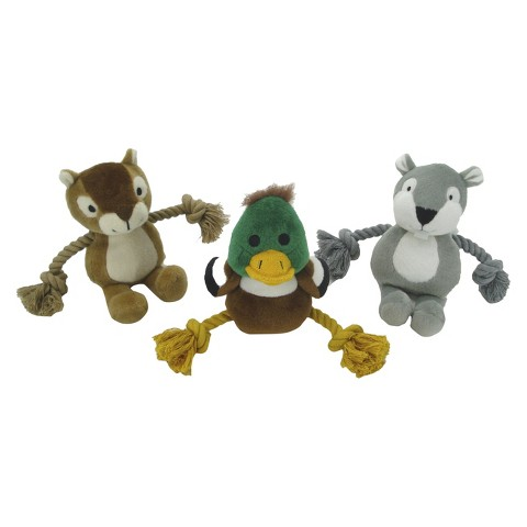 Boots & Barkley™ Woodland Rope Sliders Dog Toys - Duck/Squirrel/Chipmunk