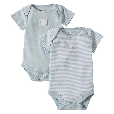 Burts Bees Baby™ Newborn Boys' 2 Pack Short-sleeve Boyduist - Sky Blue