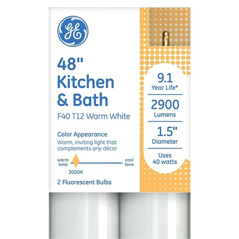 GE 40-Watt T12 Kitchen and Bath LFL Light Bulb (2-Pack)
