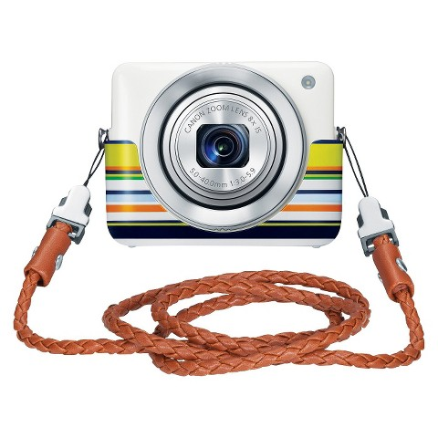 Canon PowerShot N 12.1MP Digital Camera with 8x Optical Zoom with Case and Strap - White
