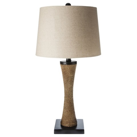 Mudhut™ Rope Textured Column Table Lamp with Natural Linen Shade(Includes CFL Bulb)