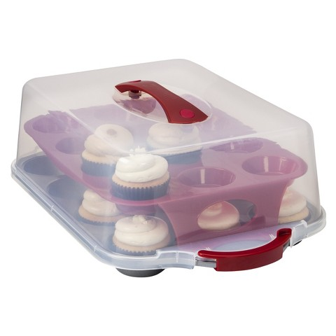 Room Essentials™ 24 Cavity Plastic Covered Cupcake Carrier - Clear/Red