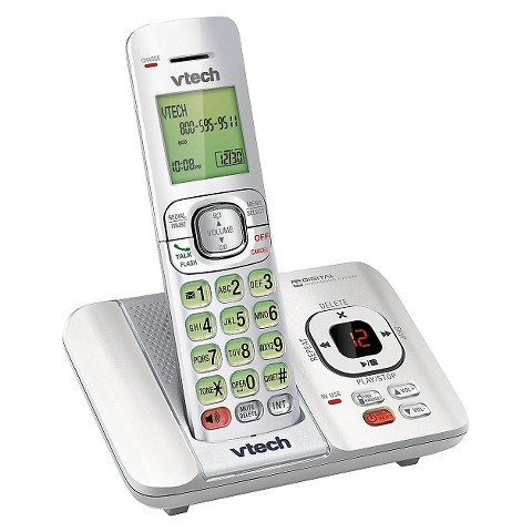 VTech CS6529-17 DECT 6.0 Expandable Cordless Phone System with Answering Machine, 1 Handset - White