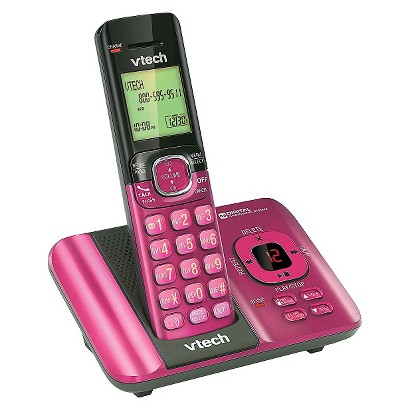 VTech DECT 6.0 Cordless Phone System (CS6529P) with Answering Machine, 1 Handset - Pink