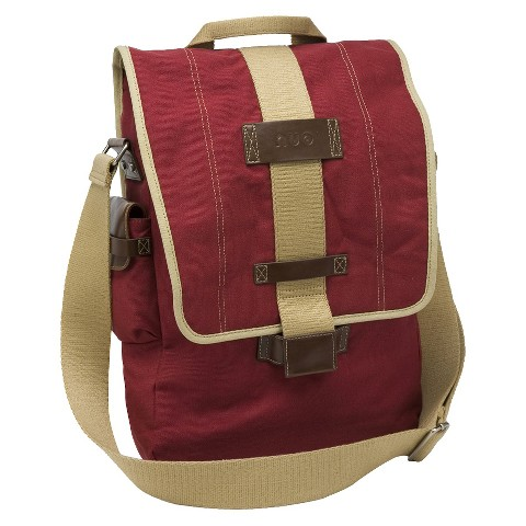"Nuo Tech Canvas Vertical Messenger Style 15.6"" Laptop Bag - Red (100065)"