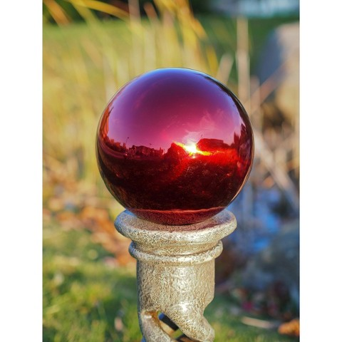 "Stainless Steel Gazing Globe Red (10"")"