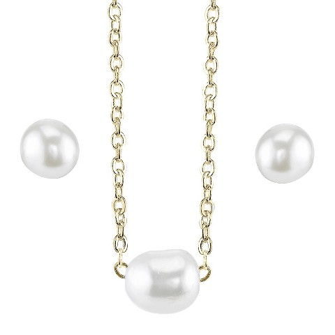 Silver Plated Pearl Necklace And Earring Set - Gold