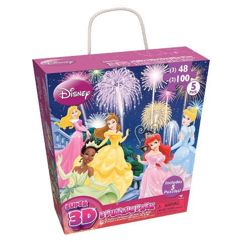 Disney Girls Super 3D 5pk Puzzle