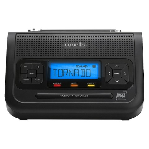 Capello Weather Alert Clock Radio - Black (CR2W)